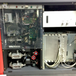 Organisation of components in a Bruker X-ray generator. Note the left-hand panel organisation. Behind this panel, there are no further components, allowing full access to the cabling from the back.