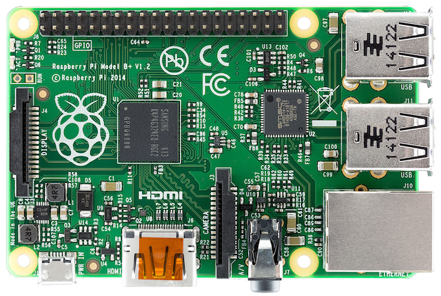 A Raspberry Pi 2. CC-licensed image from Wikipedia.