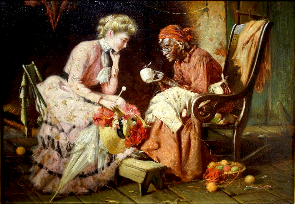 """Reading Tea Leaves"", Harry Herman Rosel, 1906 public domain image. source: https://commons.wikimedia.org/wiki/File:Reading_Tea_Leaves_by_Harry_Herman_Roseland,_1906,_oil_on_canvas_-_New_Britain_Museum_of_American_Art_-_DSC09351.JPG"