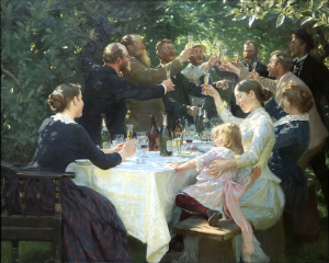 Konstnärsfest på Skagen - Peder Severin Krøyer (1888). Public domain image from: https://en.wikipedia.org/wiki/File:Hipp_hipp_hurra!_Konstn%C3%A4rsfest_p%C3%A5_Skagen_-_Peder_Severin_Kr%C3%B8yer.jpg