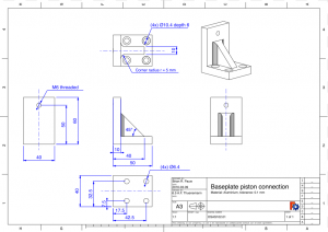 An example drawing made by importing a 3D model into FreeCAD for dimensioning.