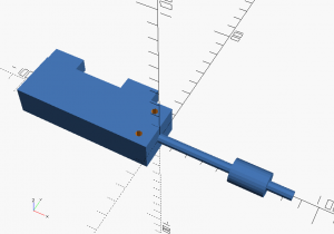 A component drawing example: it's a Festo DMM piston with couplings and mounting holes indicated.