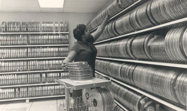 Data storage. Public domain image, source: https://en.wikipedia.org/wiki/Tape_library#/media/File:NDOC_magnetic_tape_library.jpg