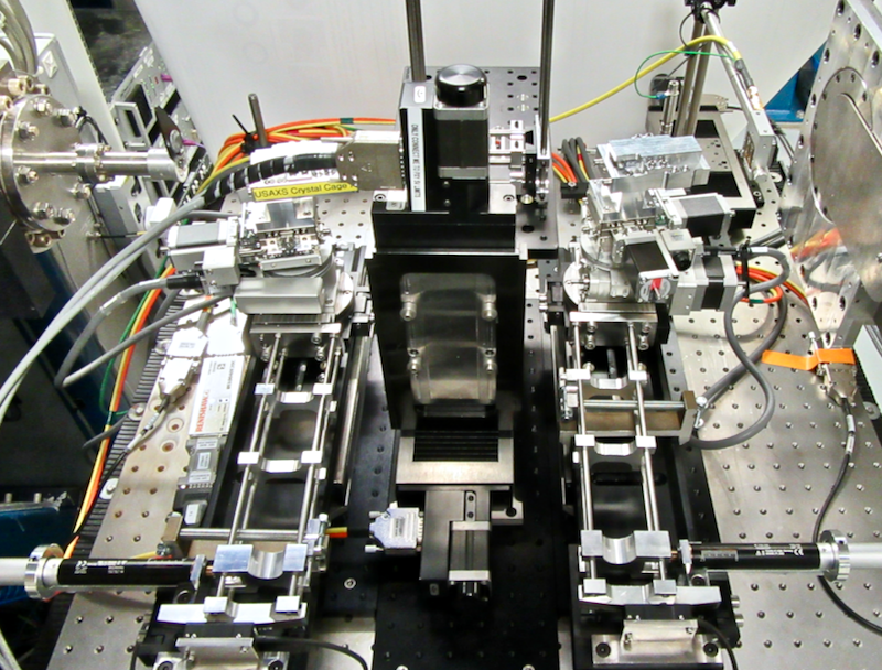 The USAXS platform as viewed from the rear, with the synchrotron beam going from left to right. The arms, actuators and encoder strips are clearly visible.